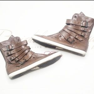 Leather Converse High top tops brown zip up